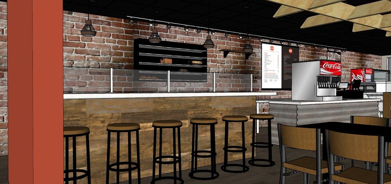 Industrial Cafe Design- Bar Area